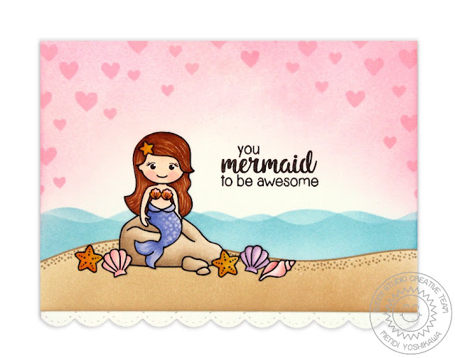 Sunny Studio Stamps Magical Mermaids You Mermaid To Be Awesome Card by Mendi Yoshikawa