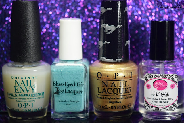 O.P.I Original Nail Envy, Blue-Eyed Girl Lacquer I Have Known You Since You Were Very Small, O.P.I 50 Years Of Style, Glisten & Glow HK Girl Fast Drying Top Coat