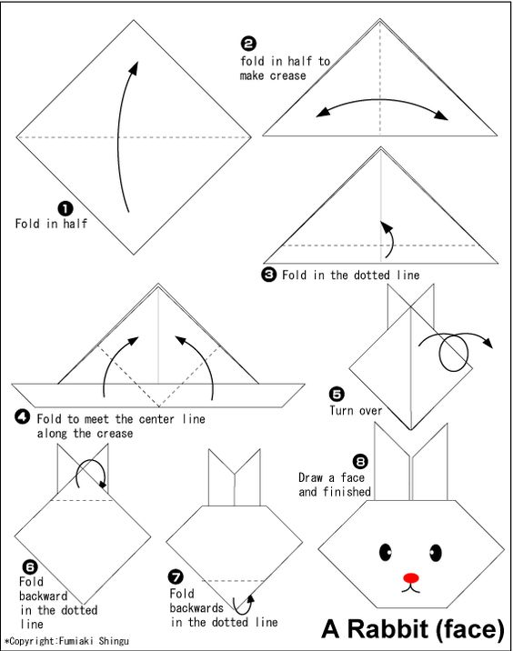 How to Make an Origami Rabbit Face Step by Step Instructions ... | 716x564