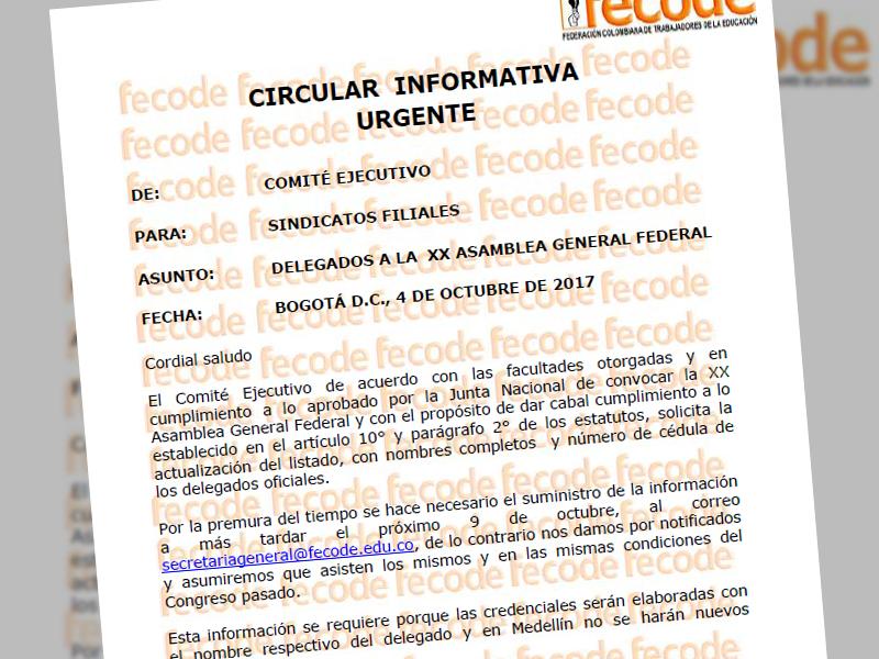 Circular Fecode informativa urgente delegados a la XX Asamblea General Federal