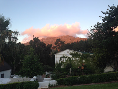 Grand Dedale Country House, view from terrace to mountains, sunset, garden
