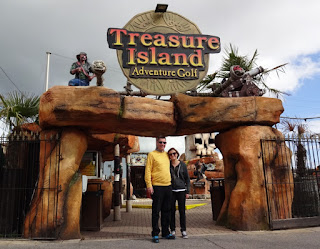 Richard and Emily Gottfried at Treasure Island Adventure Golf in Southsea