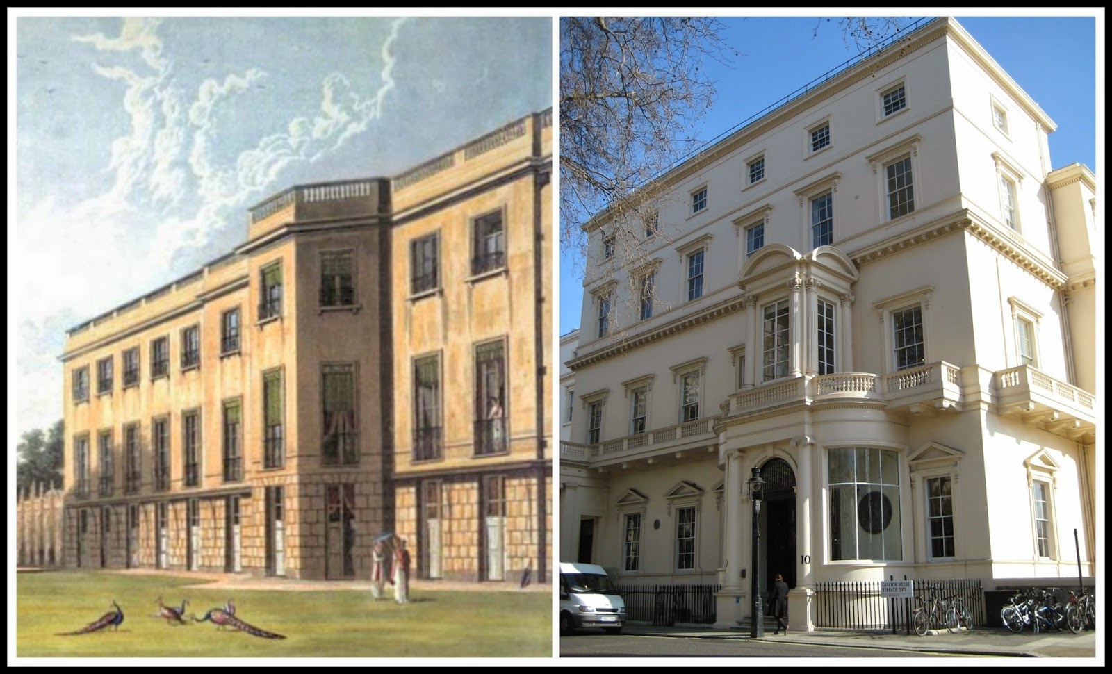 Left: Carlton House, south front,  from    The History of the Royal Residences by WH Pyne (1819)  Right: Carlton House Terrace © Andrew Knowles