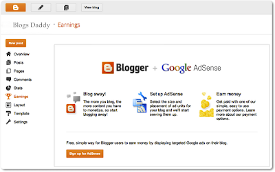 Blogger+Adsense Screen