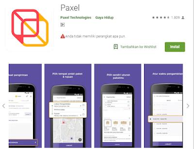 Aplikasi pengiriman barang Paxel.