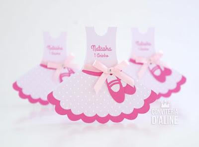 convite bailarina rosa aniversario