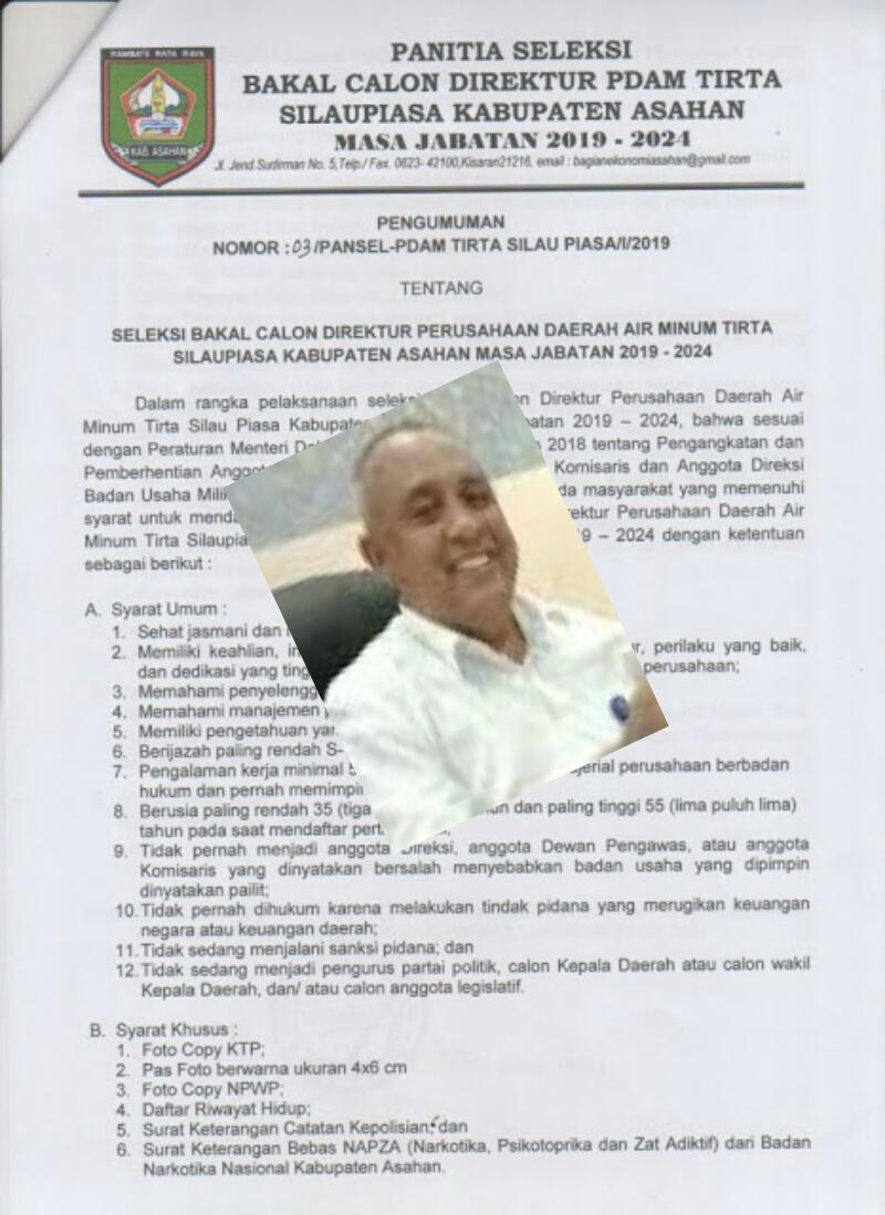 Ruspin Arif dan pengumuman seleksi Dirut PDAM TSP Asahan.