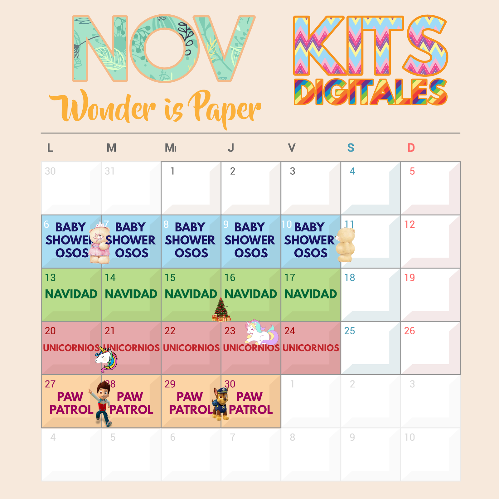 Calendario Mes Noviembre 2017 Calendario Noviembre 2017 Wonder Is Paper