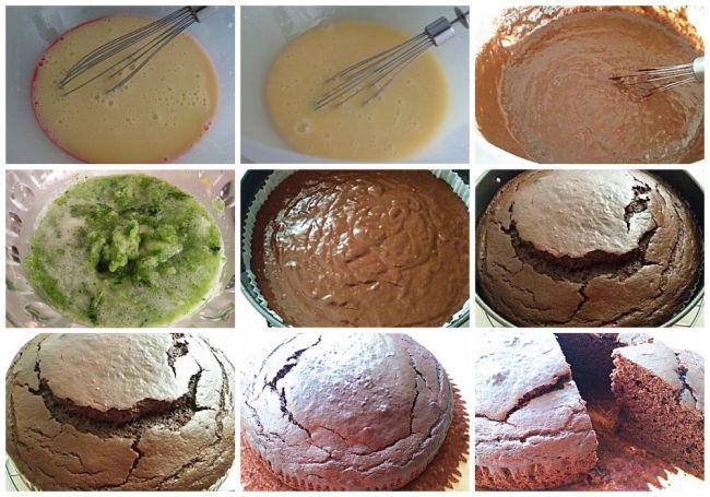 Preparación del bizcocho de calabacín y chocolate