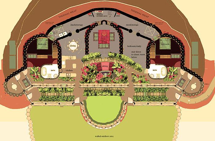 Earthship Home Floor Plans: Vignette Design: Holy Mother Earthship