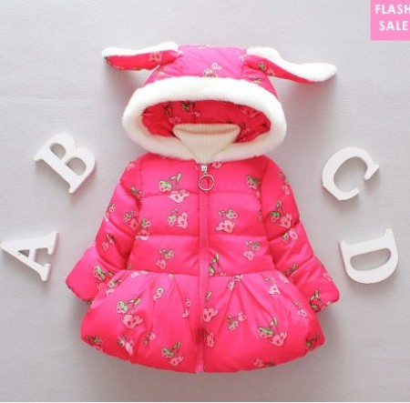 Cute Bunny Ears Thickened Hooded Coat (age 0-18 months)-price:US$29.09