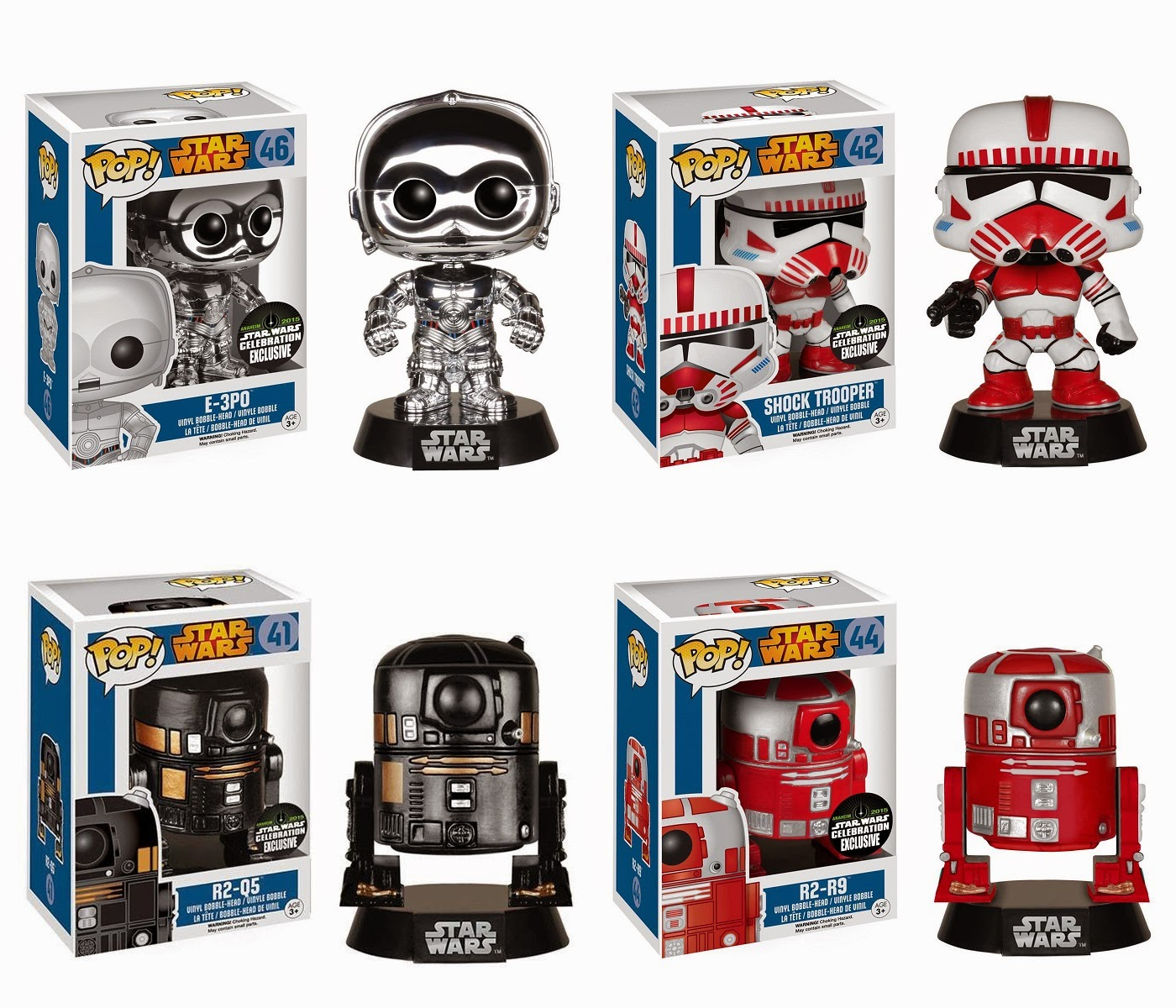 Star Wars Celebration 2015 Exclusive Star Wars Pop! Vinyl Figures Series by Funko - E-3PO, Shock Trooper, R2-Q5 & R2-R9