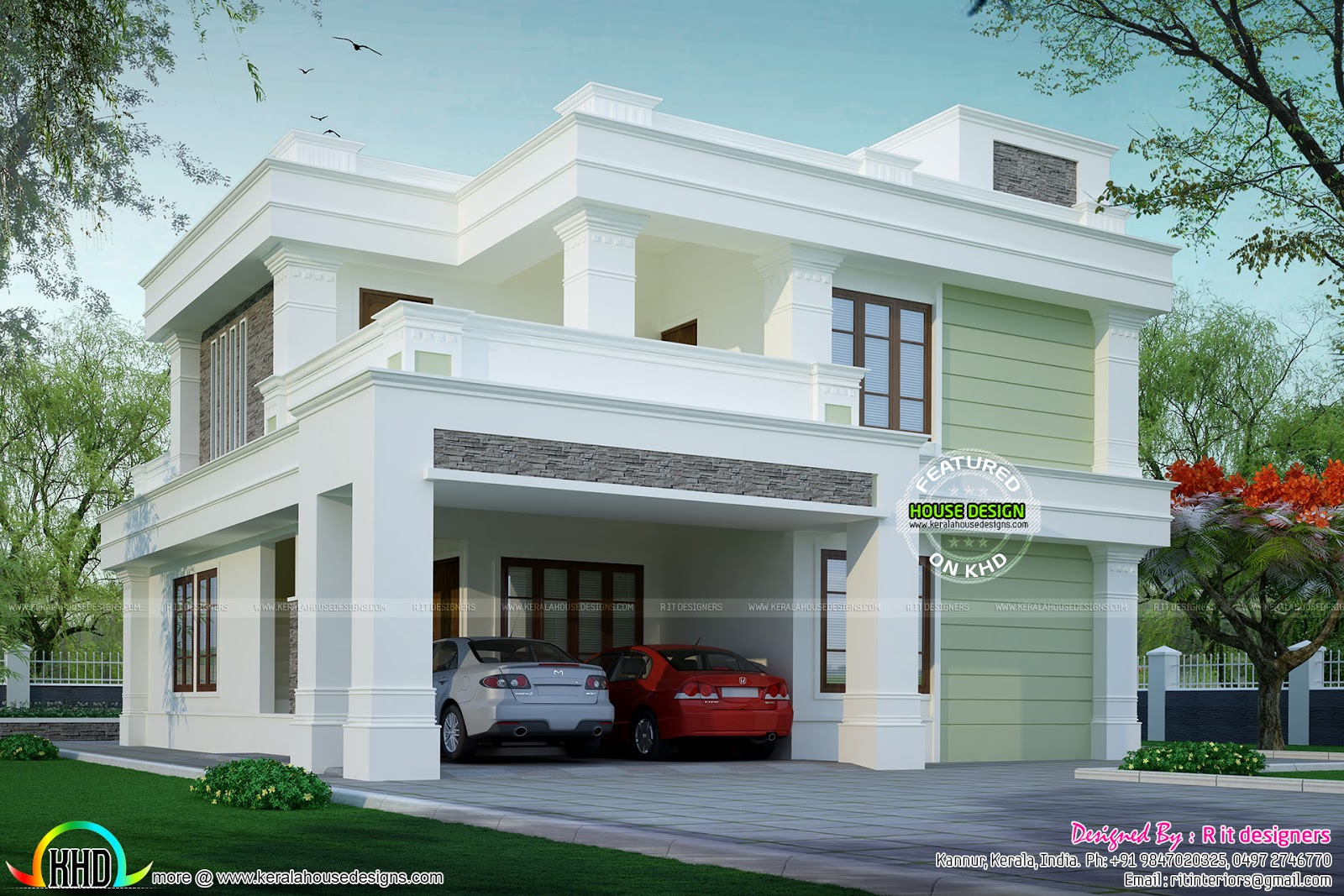 Flat Roof Decorative House Kerala Home Design And Floor