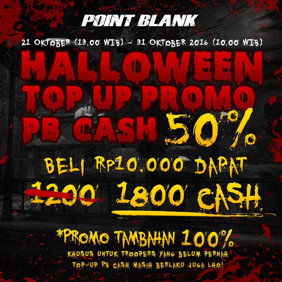 Promo Top Up PB Garena Halloween Hadiah Cash