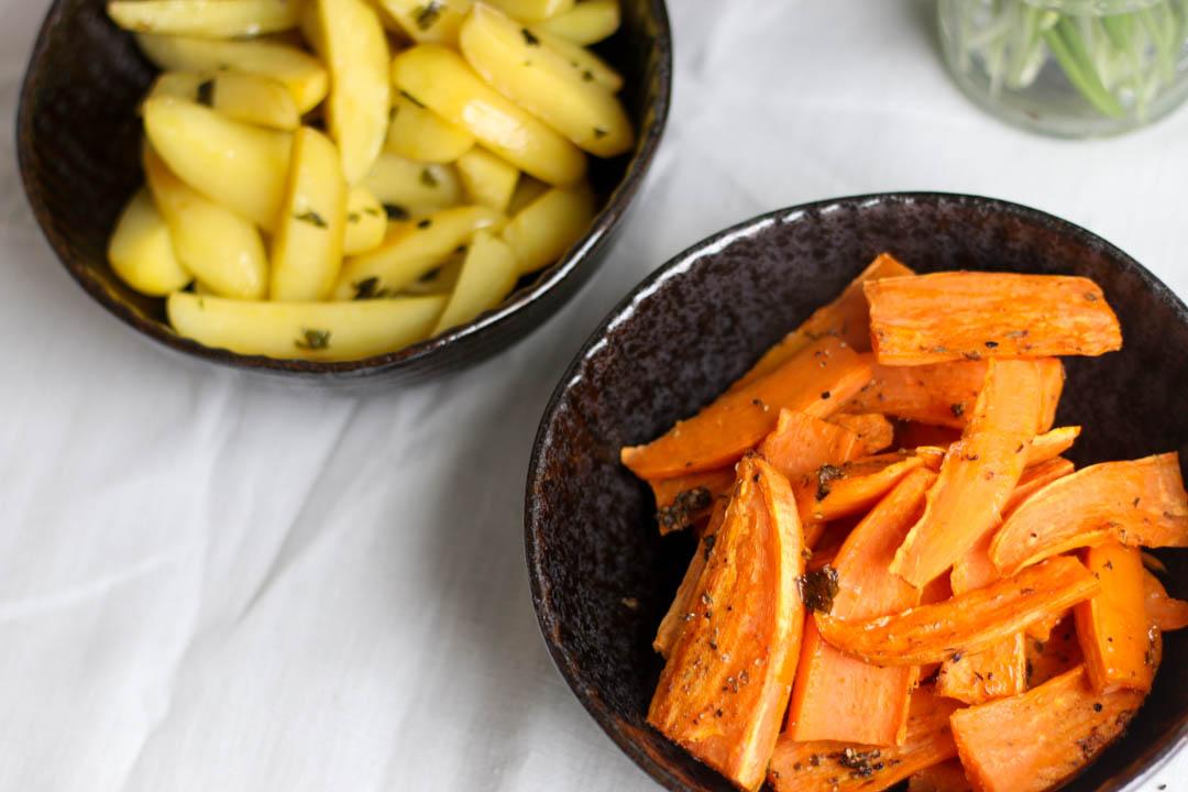 Kartoffelecken, Wedges, Bärlauch, Cajun, Süßkartoffeln, Fleurcoquet