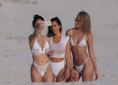 Kim Kardashian Shows Curvy Body in White Tiny Bikini