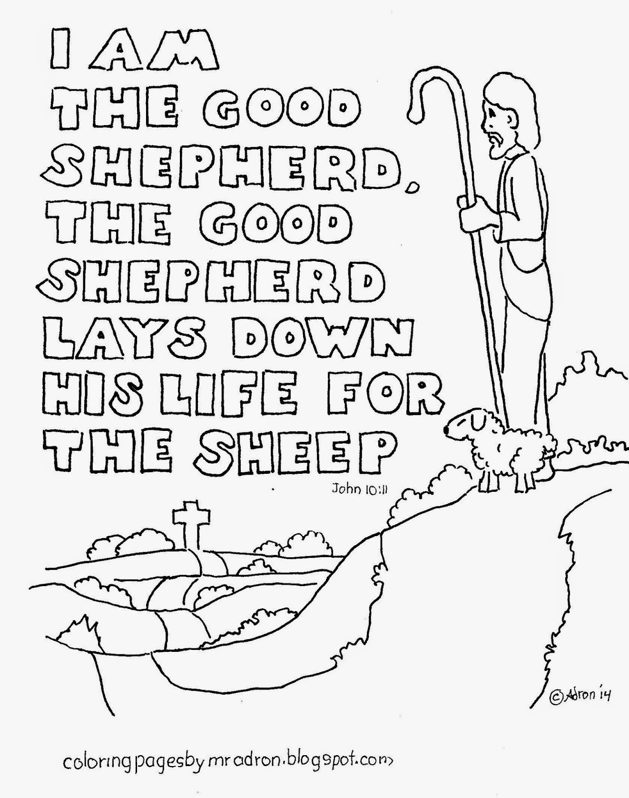 Coloring Pages For Kids By Mr Adron I Am The Good Shepherd Free Bible Verse Coloring Page