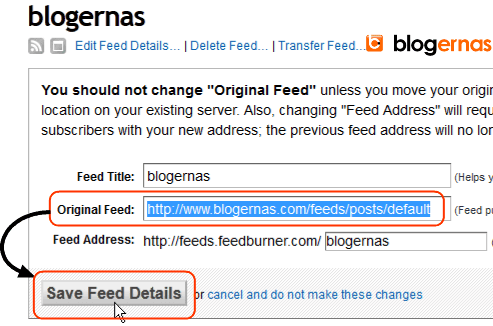 Cara Edit Feed Blog yang Keliru di Feedburner