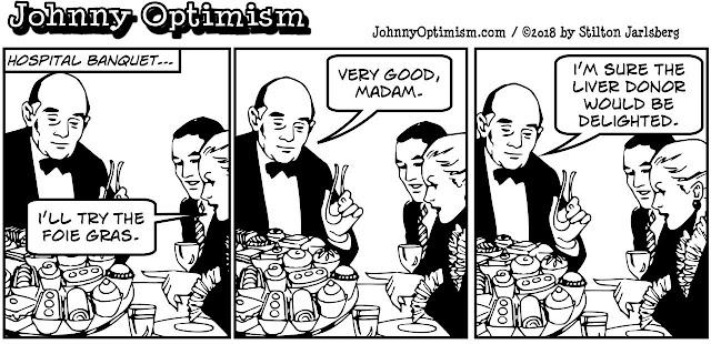 johnny optimism, medical, humor, sick, jokes, boy, wheelchair, doctors, hospital, stilton jarlsberg, liver, organ donor, foie gras, cannibalism