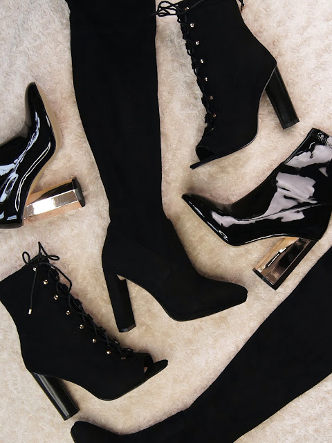 autumn winter boot haul ego shoes over the knee boots patent black ankle boots rose gold heel lace up open toe boots halloween