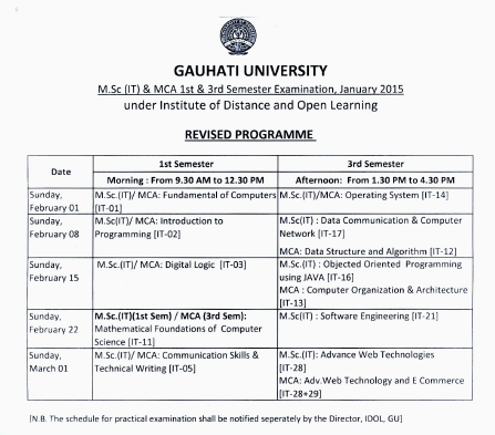 IDOL Guwahati University M.Sc 1st & 3rd Sem Examination Schedule
