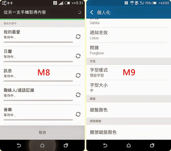 HTC M8 & M9對照圖
