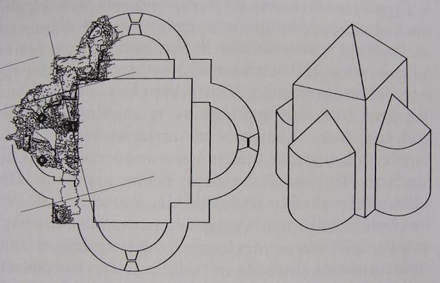 Rycina wczesnośredniowiecznego tetrakonchosu w Zawichoście