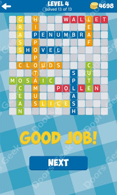 Cheats, Solutions for Level 4 in 13 Word Connect by Second Gear Games