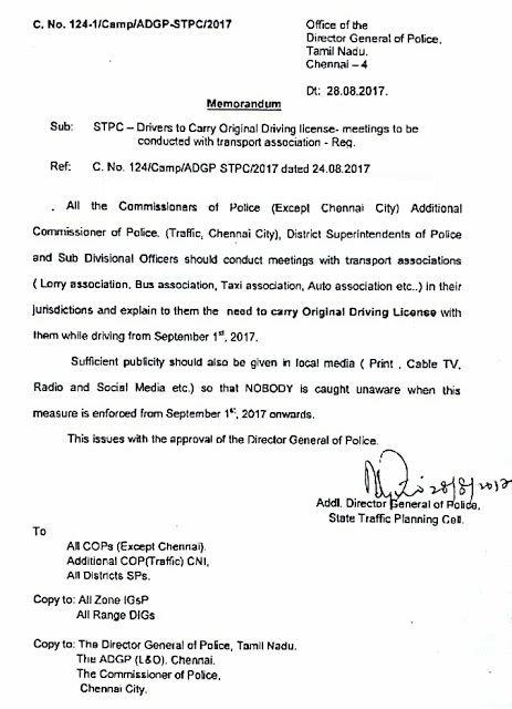 Drivers to Carry Original Drivings License from 01.09.2017 -Reg