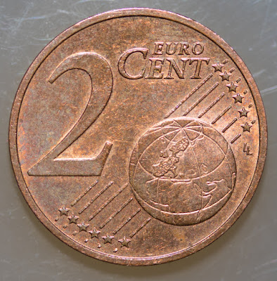 Reverse of 2013 Austria 2 Euro Cent, denomination, map