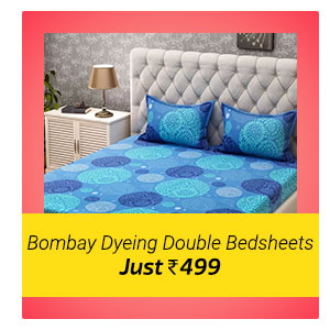Bombay Dyeing Double Bedsheets at Rs. 499. Never before price.
