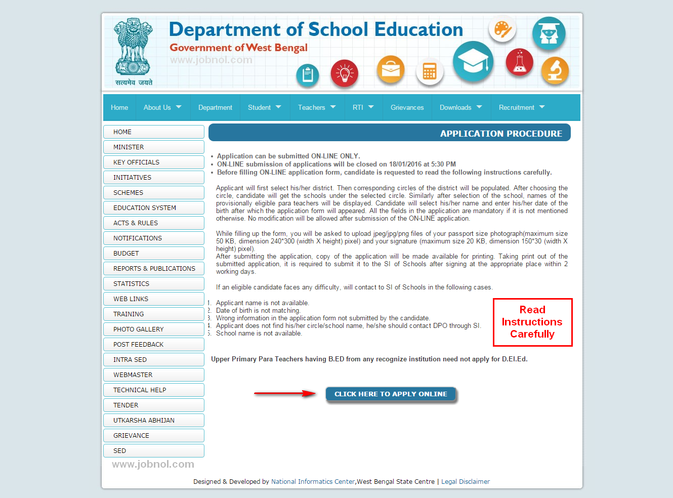 WBSED/WBBPE D El Ed ODL Mode for Para Teachers Online Application