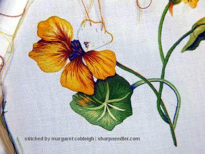 Fourth thread painted nasturtium petal completed. (Catherine Laurencon Capucines (Inspirations))