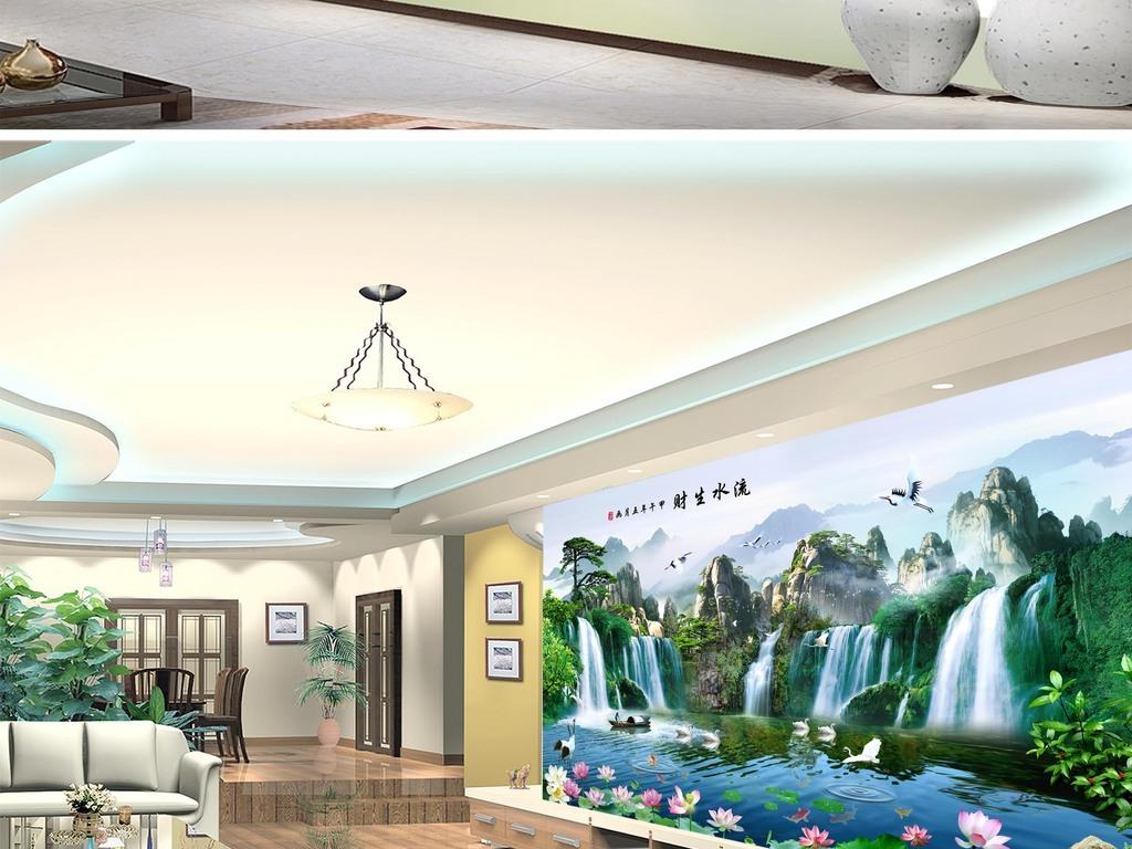 Tranh Phong Thủy Thác Nước Thiên Nga hoa sen đẹp