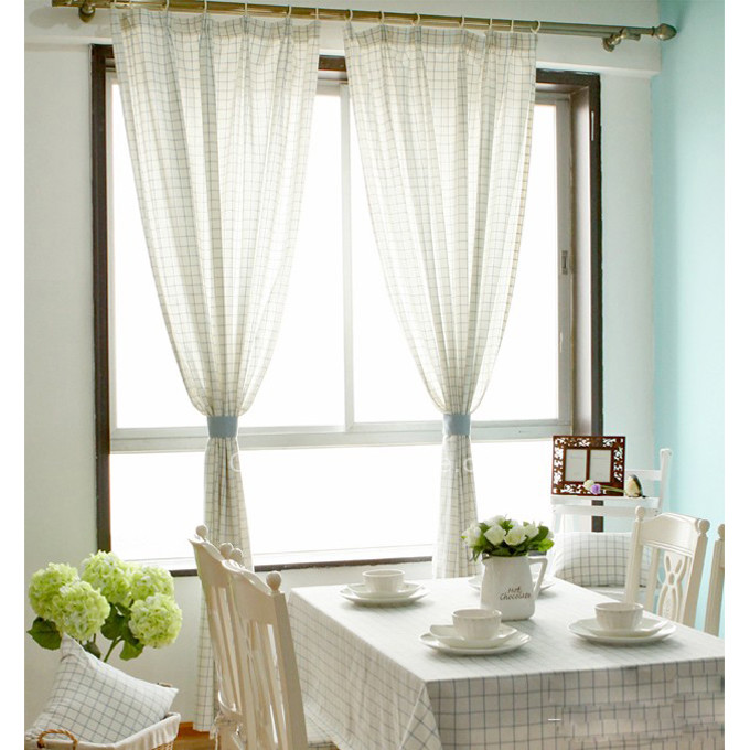 Plaid Modern Country Style Beautiful Sunroom Curtains Ideas