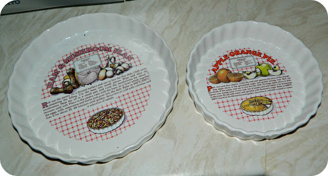 Flan Dishes with recipes printed on them