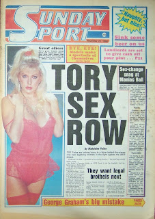 Tabloid newspaper front page Sunday Sport 23-nov-86