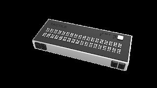 Dispositivo en el que hay 2 líneas de braille para convertir el texto escrito