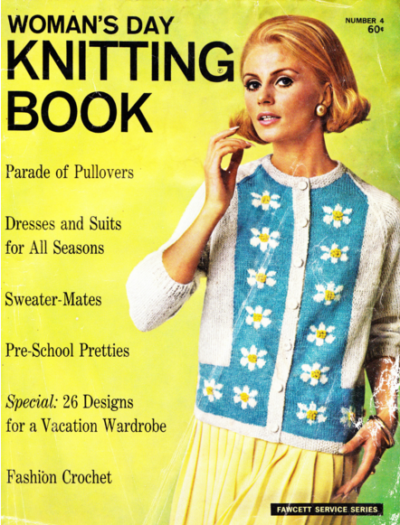 The Vintage Pattern Files Free 1960's Knitting Pattern Posy-Paneled Cardigan