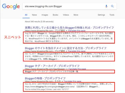 検索結果のスニペットの例