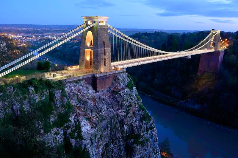 Clifton suspension bridge and the Avon gorge, Bristol just after twilight.