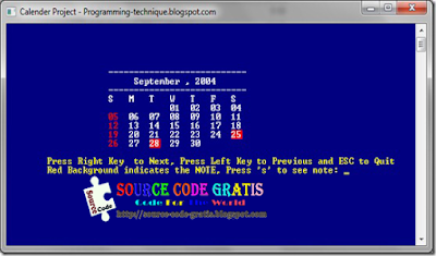 Download Gratis Source Code C Aplikasi Kalender