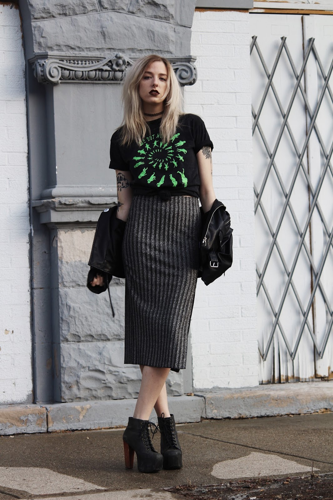 glitter skirt and alien tees