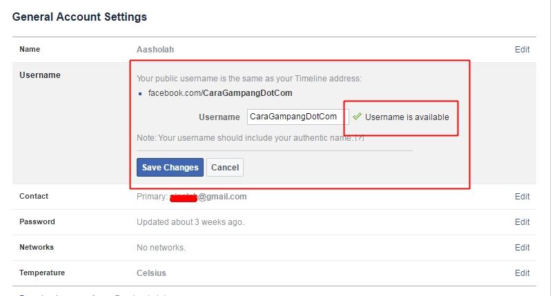Cara Mengganti URL Facebook yang Susah Diganti