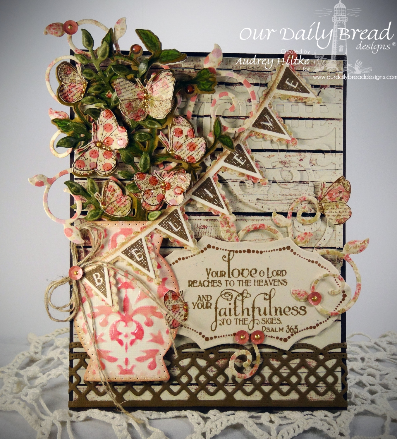 Stamps - Our Daily Bread Designs Faith, Flourish Label Borders, Pennant Row, ODBD Blusing Rose Paper Collection, ODBD Custom Vintage Flourish Pattern Die, ODBD Custom Beautiful Borders Dies, ODBD Custom Fancy Foliage Die, ODBD Custom Decorative Vase Die, ODBD Custom Pennant Row Die