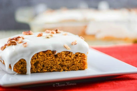 Pumpkin Sheet Cake with Cream Cheese Frosting by Flavor Mosaic