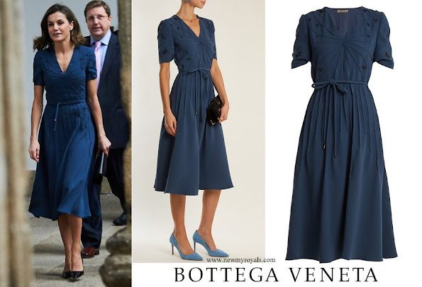 Queen Letizia wore a blue dress by Italian luxury brand Bottega Veneta