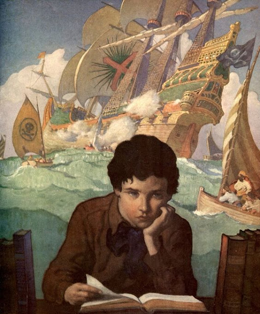 Boy reading book with pirate ship background