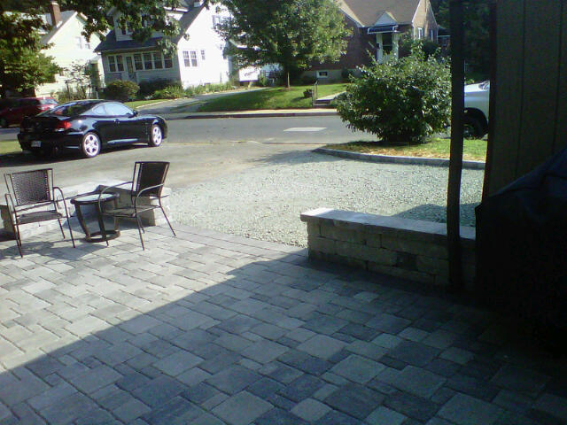 design inc patio with gravel parking pad in catonsville md