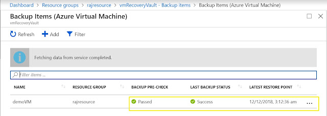 Backup Items Azure VM